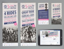 Pedal Power – Amy's Big Canberra Bike Ride branding, flyer, poster and social media design