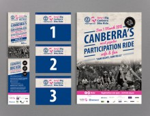 Pedal Power – Amy's Big Canberra Bike Ride – branding, flyer, poster and number plates