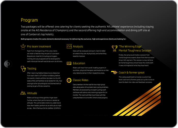 AIS Cycling Camps digital brochure design